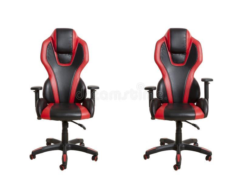 Frontowi widok nowożytny biurowy krzesło, wyścielany w czerni i zdjęcie royalty free