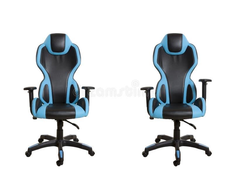 Frontowi widok nowożytny biurowy krzesło, wyścielany w czerni i zdjęcia stock