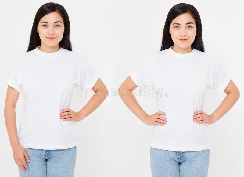 Frontowi widoki młody azjata, koreańska seksowna kobieta w eleganckiej koszulce na białym tle Egzamin próbny up dla projekta kosm obraz stock