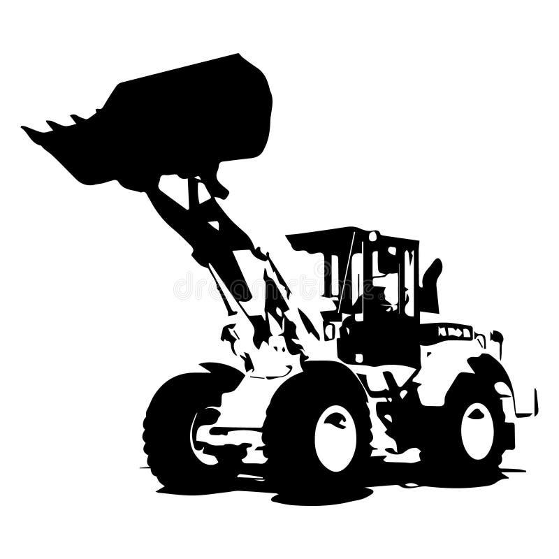 Frontowy ładowacza czerni kolor na białej tło ikony ilustraci ilustracja wektor