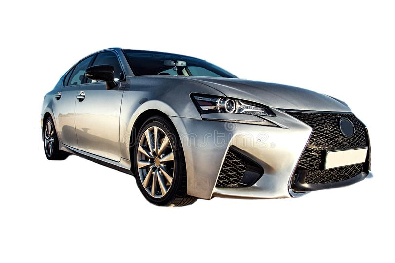Frontowy narożnikowy widok Lexus GS, biznesowy sporta sedan odizolowywający na bielu obraz royalty free