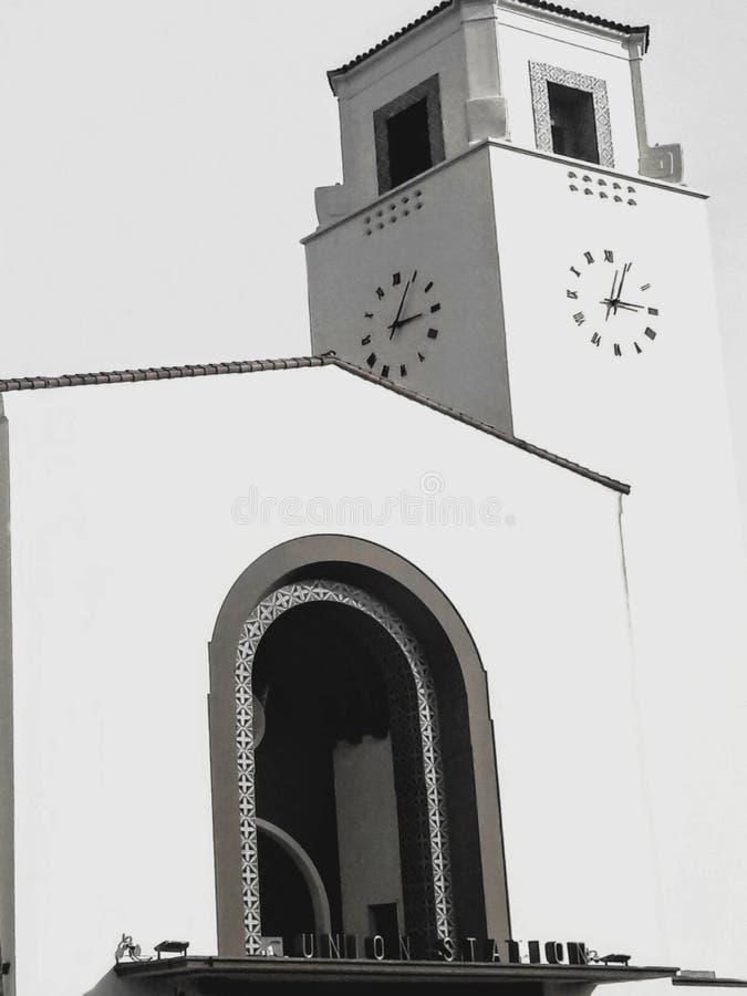 Frontowy wejście Los Angeles zjednoczenia stacja w Czarny I Biały obraz stock