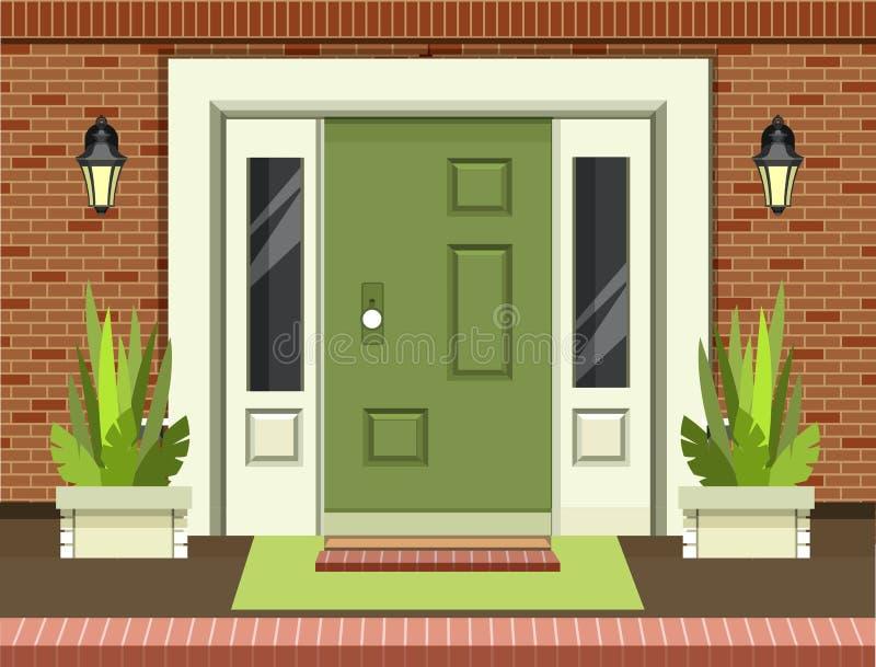 Frontowy wejściowy drzwi ilustracji