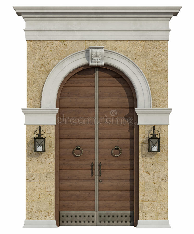 Frontowy widok średniowieczny portal z drewnianym drzwi ilustracji