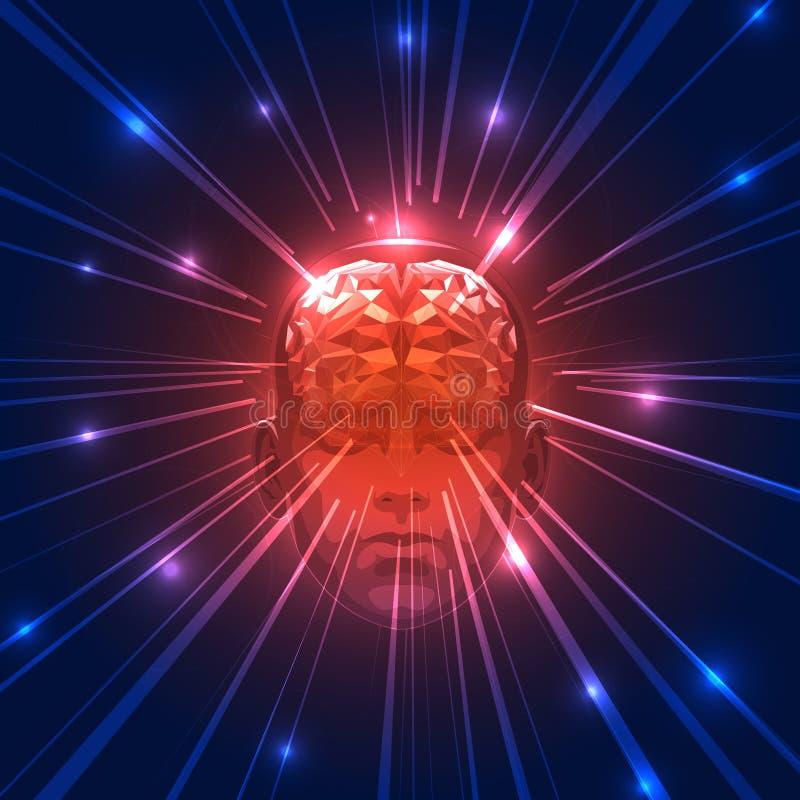 Frontowy widok Abstrakcjonistyczna Ludzka głowa z mózg ilustracja wektor