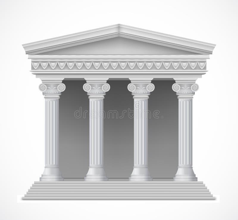 Frontowy widok antykwarska grecka świątynia wektor royalty ilustracja