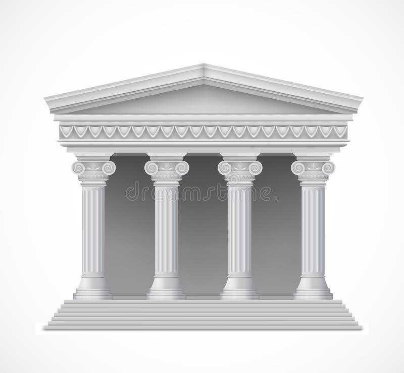 Frontowy widok antykwarska grecka świątynia wektor ilustracji