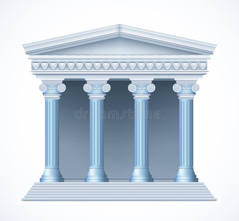Frontowy widok antykwarska grecka błękitna świątynia wektor royalty ilustracja
