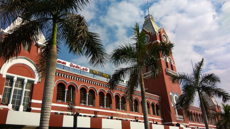Frontowy widok Chennai centrali stacja kolejowa zdjęcia royalty free
