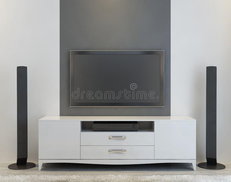 Frontowy widok elegancka biała konsola TV royalty ilustracja