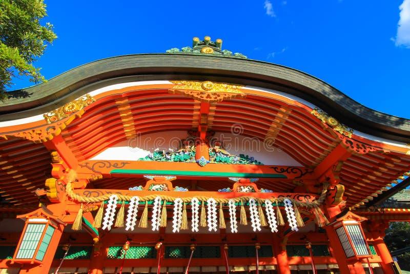Frontowy widok haiden, Fushimi Inari Taisha, Fushimi-ku, Kyoto, Japonia zdjęcie royalty free