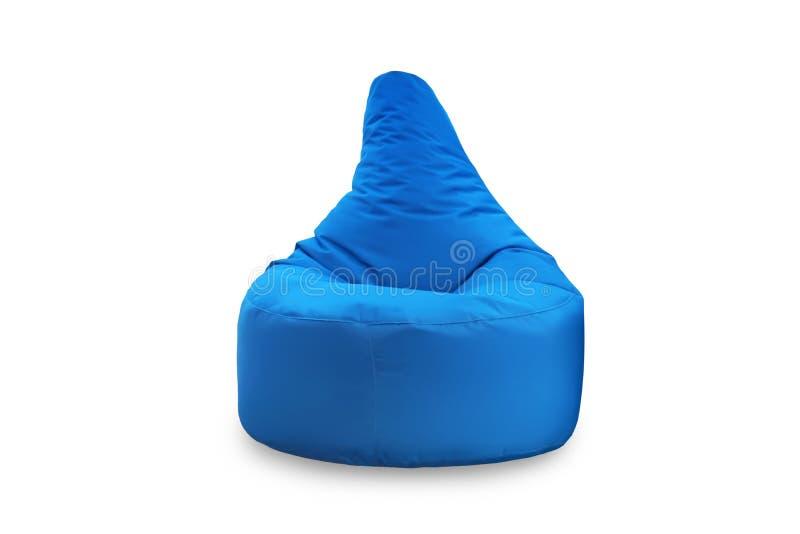 Frontowy widok jeden miękki błękitny beanbag siedzenie odizolowywający na białym tle Przedmioty dla projekta obraz royalty free