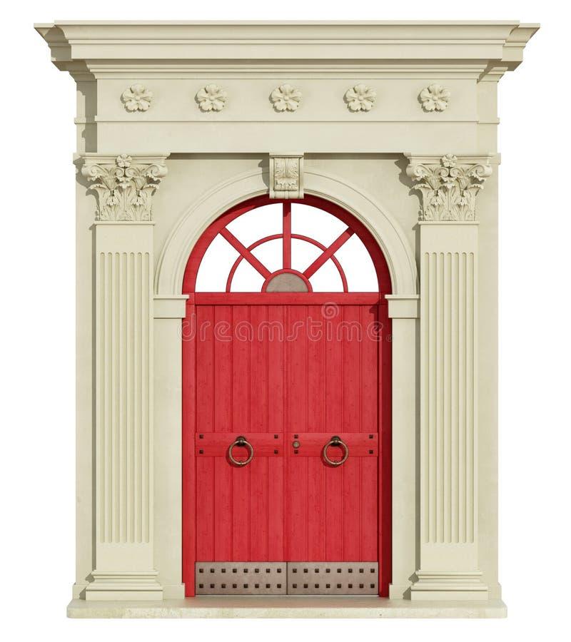 Frontowy widok klasyczny łuk z czerwonym drzwi ilustracja wektor