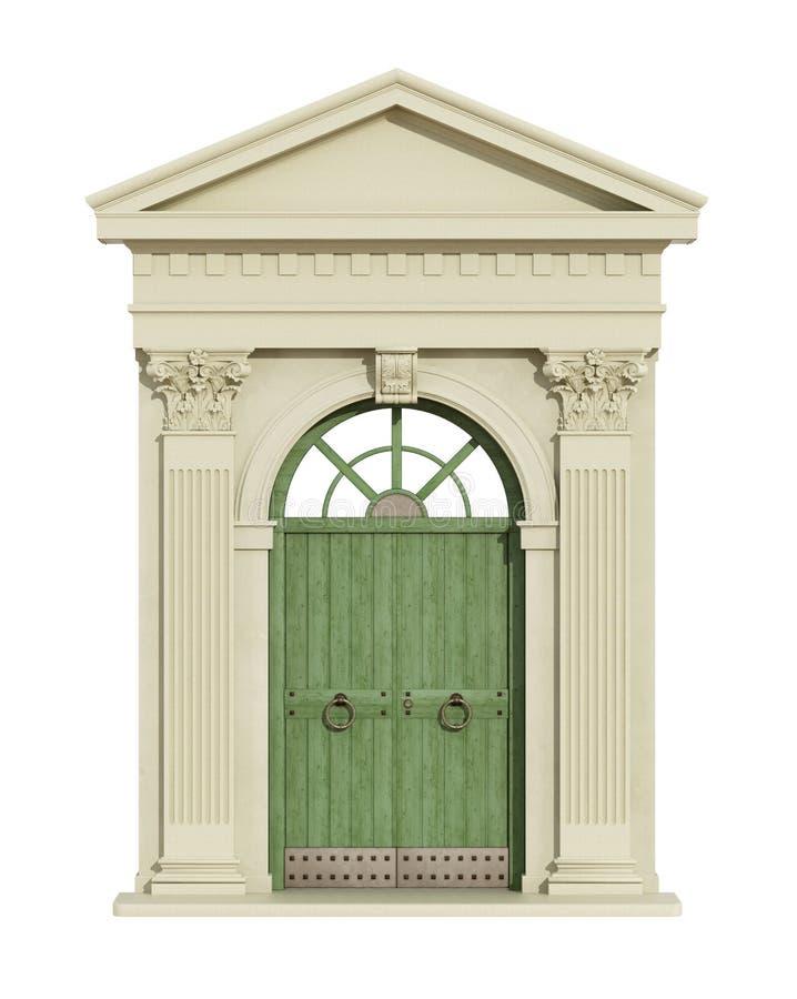 Frontowy widok klasyczny łuk z dzwi wejściowy ilustracji