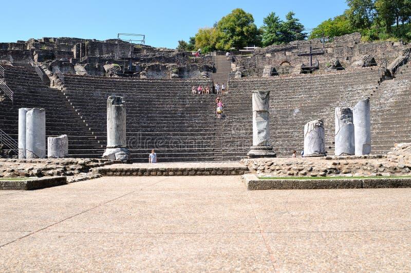 Frontowy widok kroka amfiteatr Lion Francja obraz stock