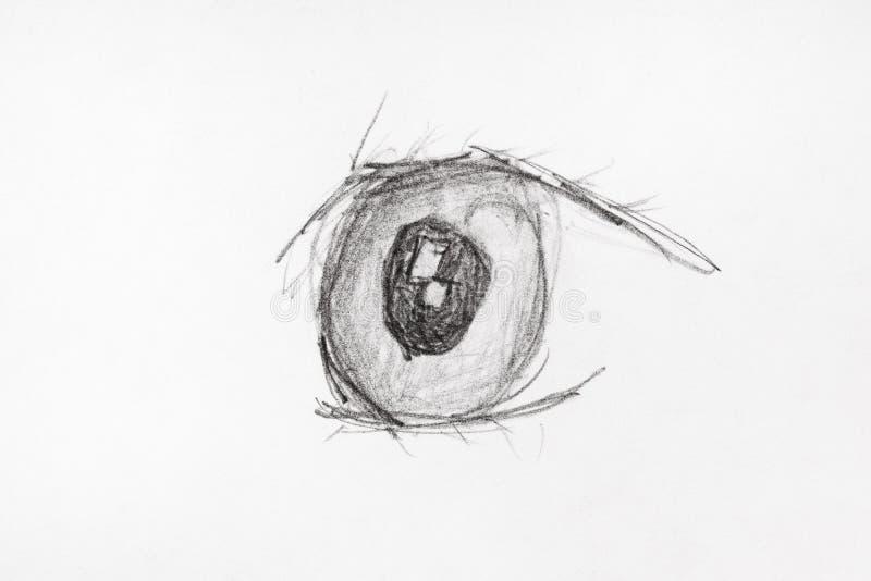Frontowy widok ludzkiego oka ręka rysująca czarnym ołówkiem royalty ilustracja