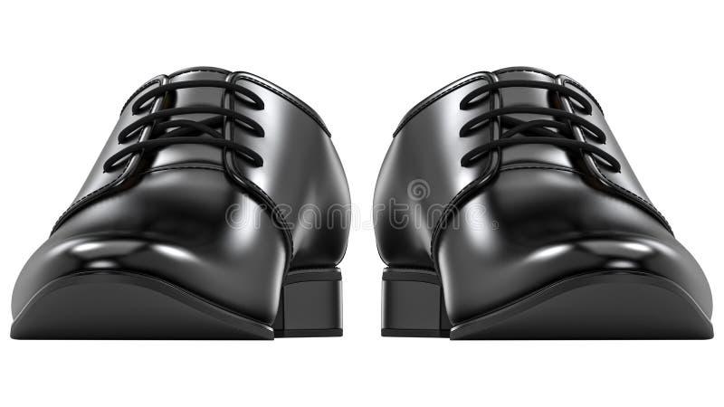 Frontowy widok mężczyzna ` s mody butów czerń, klasyczny projekt Para waleczny butów 3d rendering odizolowywający na białym tle ilustracji