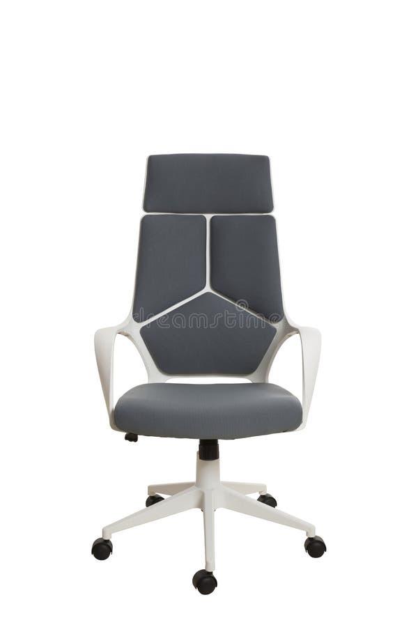 Frontowy widok nowożytny biurowy krzesło, robić biały klingeryt, upho obrazy stock