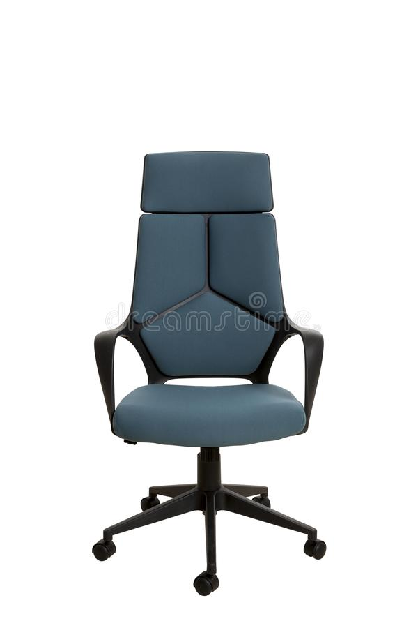 Frontowy widok nowożytny biurowy krzesło, robić czarny klingeryt, upho obraz stock
