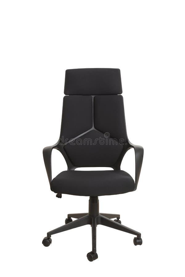 Frontowy widok nowożytny biurowy krzesło, robić czarny klingeryt, upho zdjęcie stock