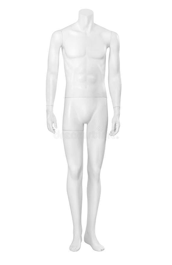 Frontowy widok odizolowywający na bielu męski mannequin zdjęcia royalty free