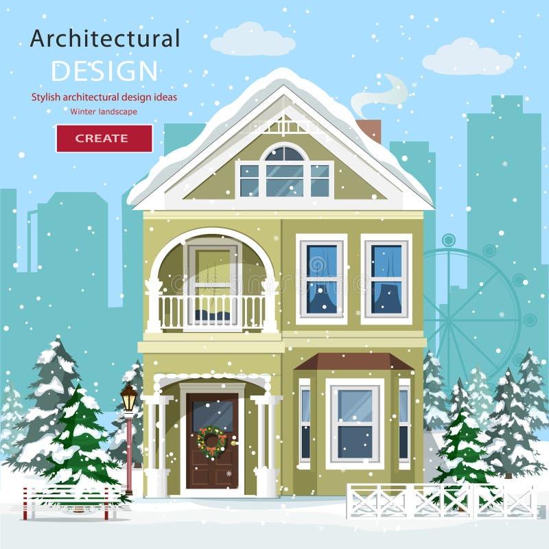 Frontowy widok podmiejski dom w opadzie śniegu ilustracji