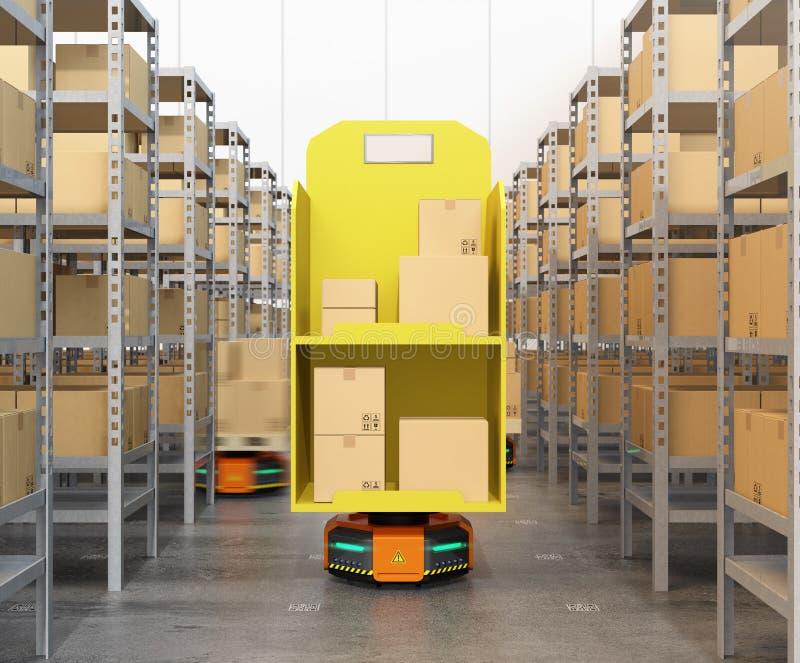 Frontowy widok pomarańczowi robotów przewoźniki niesie towary w nowożytnym magazynie ilustracji