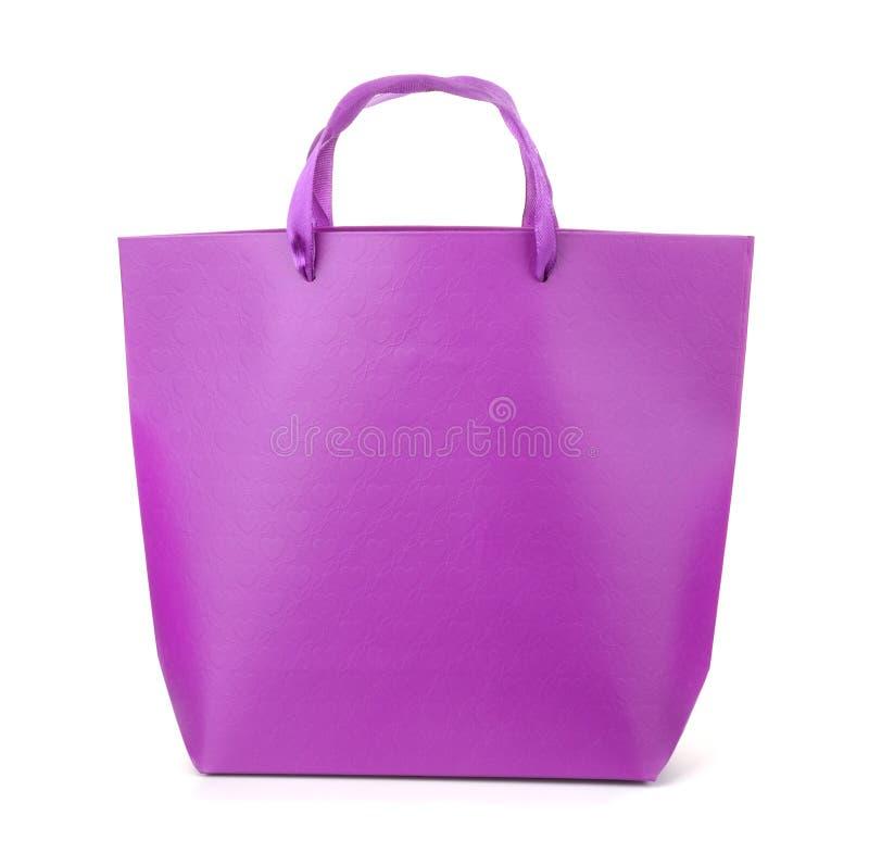 Frontowy widok purpurowa prezent torba obrazy stock