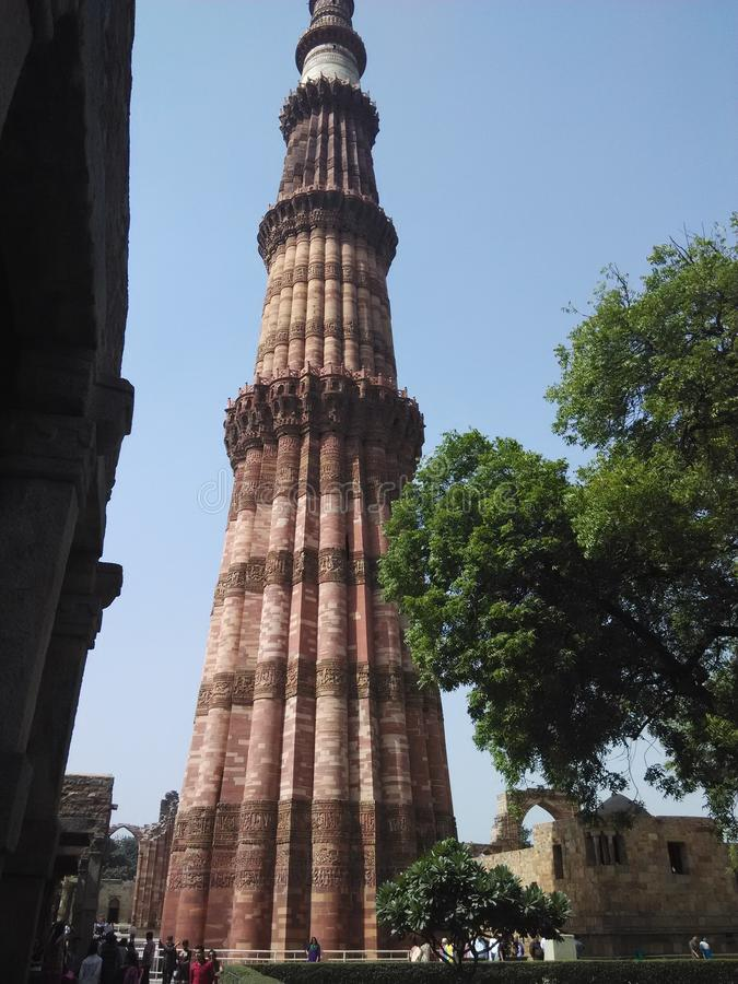 Frontowy widok Qutub Minar Delhi India zdjęcie royalty free