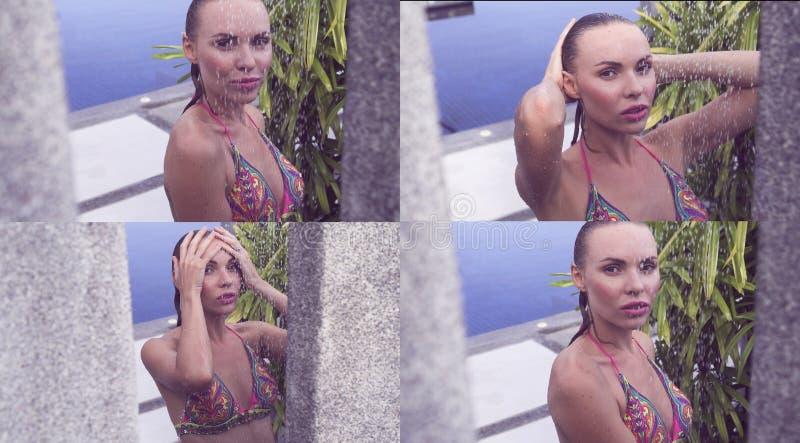 Frontowy widok seksowna blondynki kobieta zdjęcia royalty free