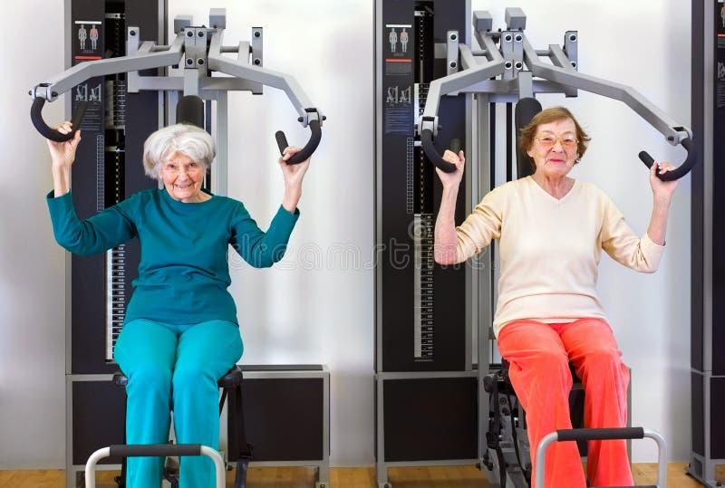 Frontowy widok starych kobiet Ćwiczyć obrazy royalty free