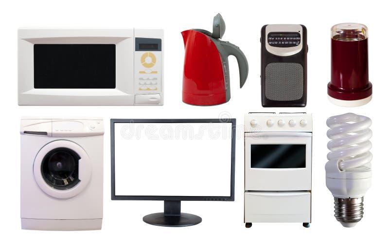 Frontowy widok ustawiający gospodarstw domowych urządzenia fotografia stock