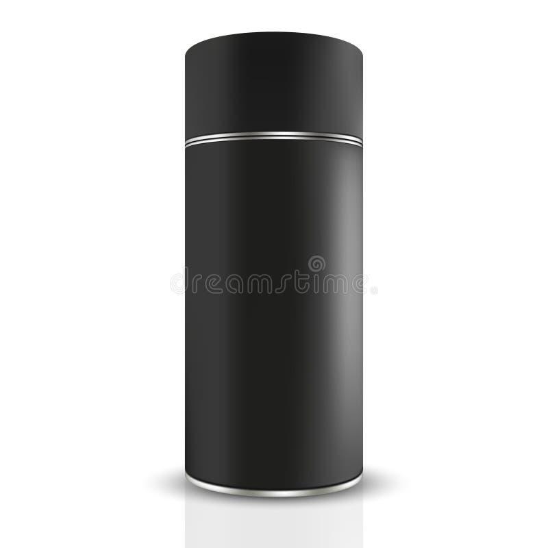 Frontowy widok wysokiej czerni cyny round zbiornik z srebnym zespołem ilustracja wektor
