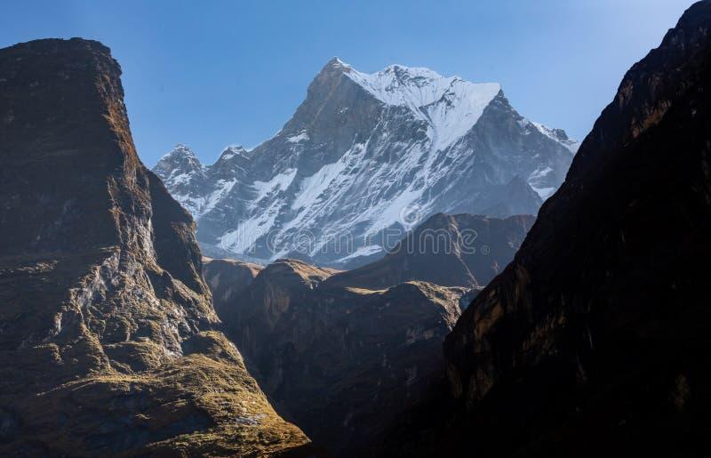 Frontowy widok zachodni stawia czoło snowcapped Rybi ogonu szczyt Machapuchare zdjęcie stock