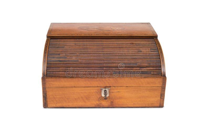 Frontowy widok Zamkniętego rocznika kasy Drewniany kreślarz zdjęcie stock