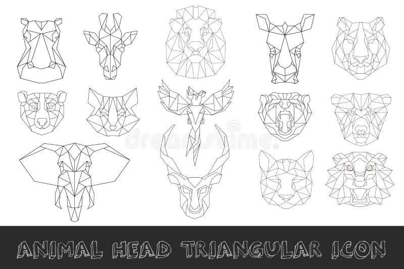 Frontowy widok zwierzę głowy ikony trójgraniasty set ilustracja wektor