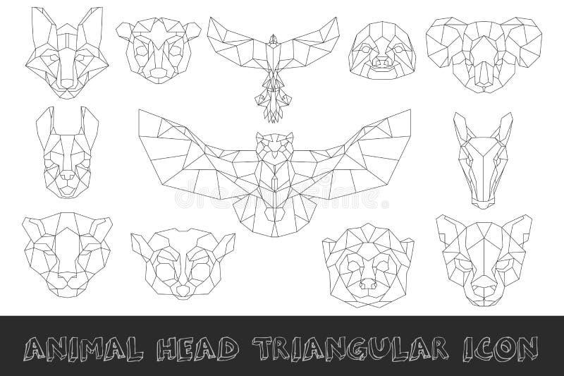 Frontowy widok zwierzę głowy trójgraniasta ikona ilustracji