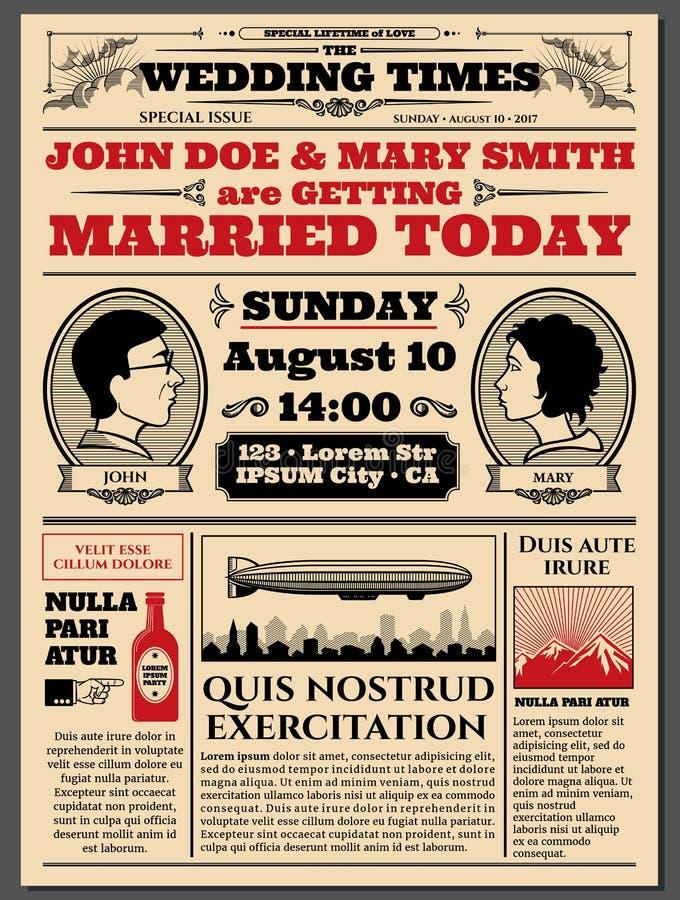 Frontpage de journal de vintage, épousant la disposition de vecteur d'invitation illustration de vecteur