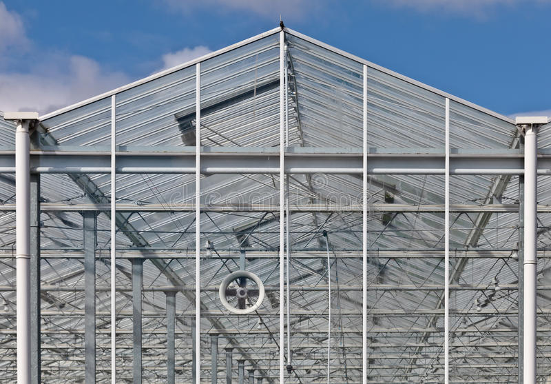 Frontview of a new greenhouse. In The Netherlands royalty free stock photo