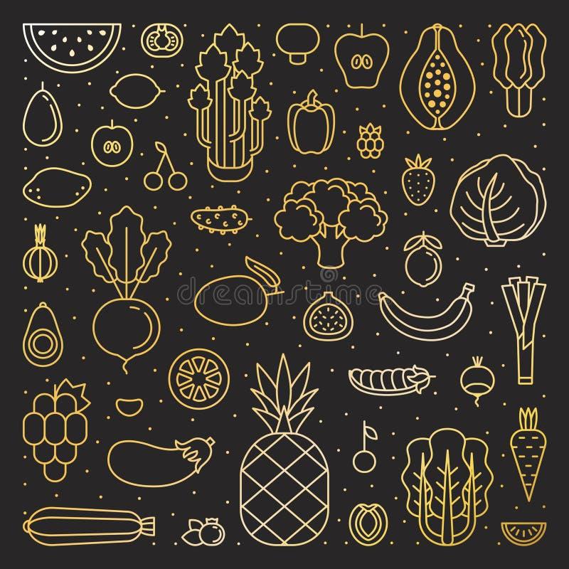 Froots и иллюстрация квадрата золота овощей Простой дизайн плана бесплатная иллюстрация