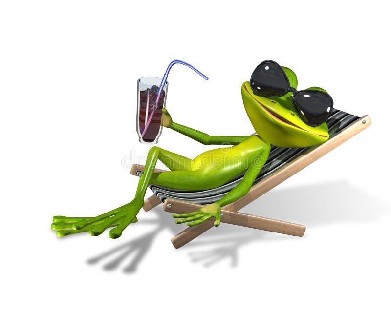 Frosch in einem deckchair stock abbildung