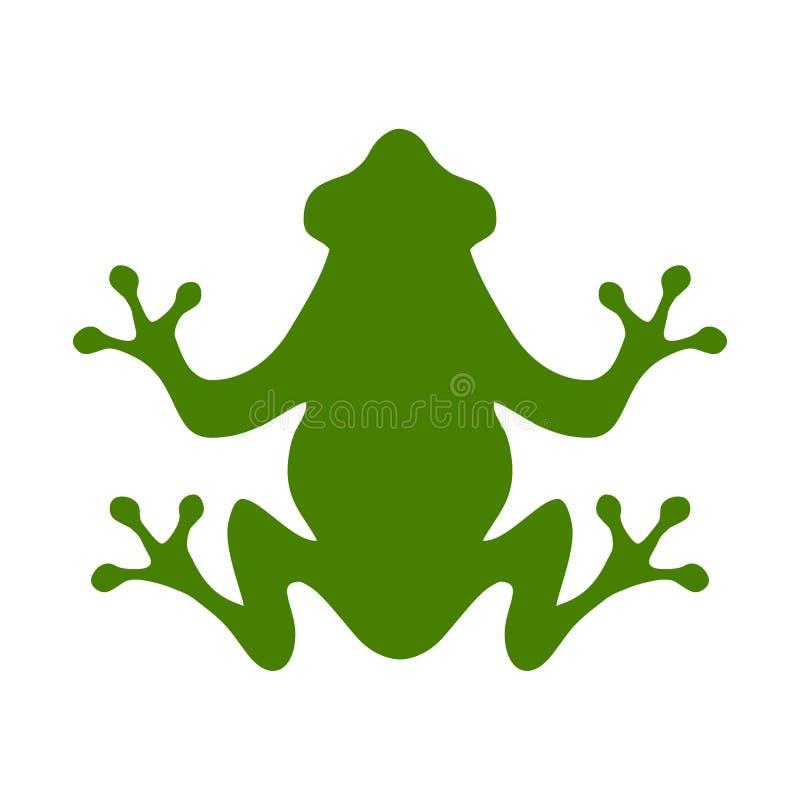 Frosch Flache Artillustration des grünen Frosches auf weißem Hintergrund stock abbildung
