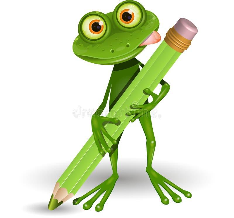 Frosch mit Bleistift vektor abbildung