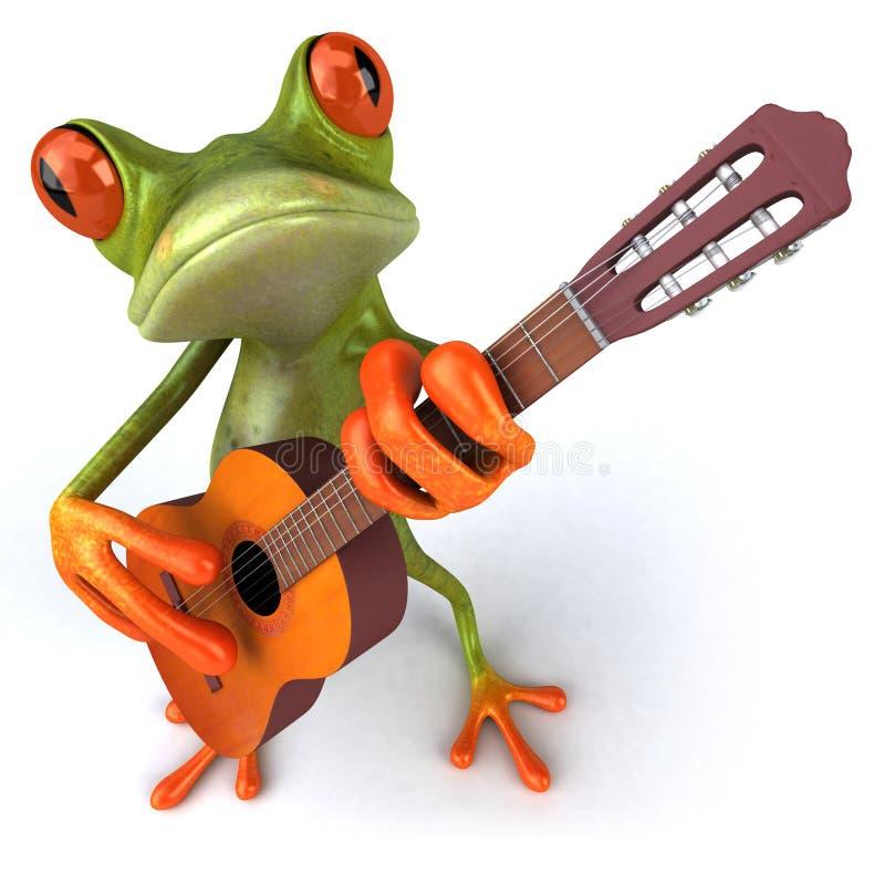 Frosch mit einer Gitarre stock abbildung