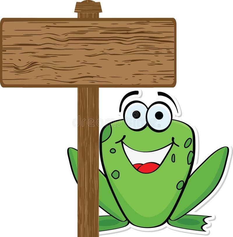 Frosch mit hölzerner Fahne lizenzfreie abbildung