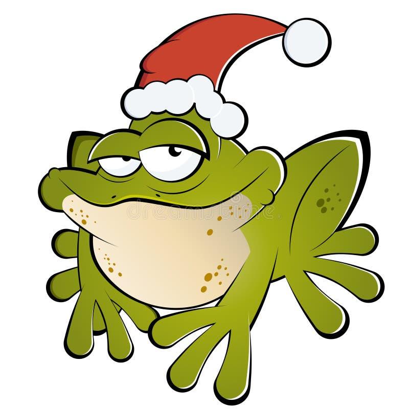 Frosch mit Sankt-Hut lizenzfreie abbildung
