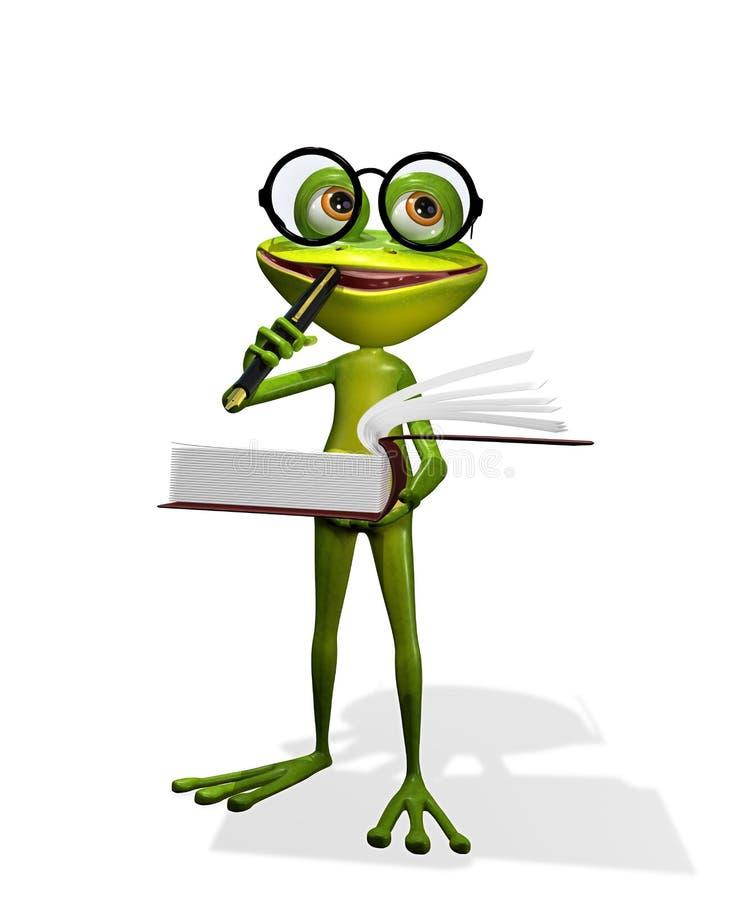 Frosch und Bücher stock abbildung