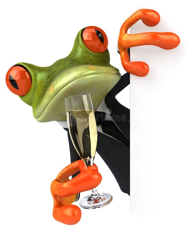 Frosch und Champagner stock abbildung