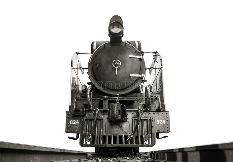 Froschperspektive-Front der Dampflokomotive Pazifik auf den Bahnen stockbilder