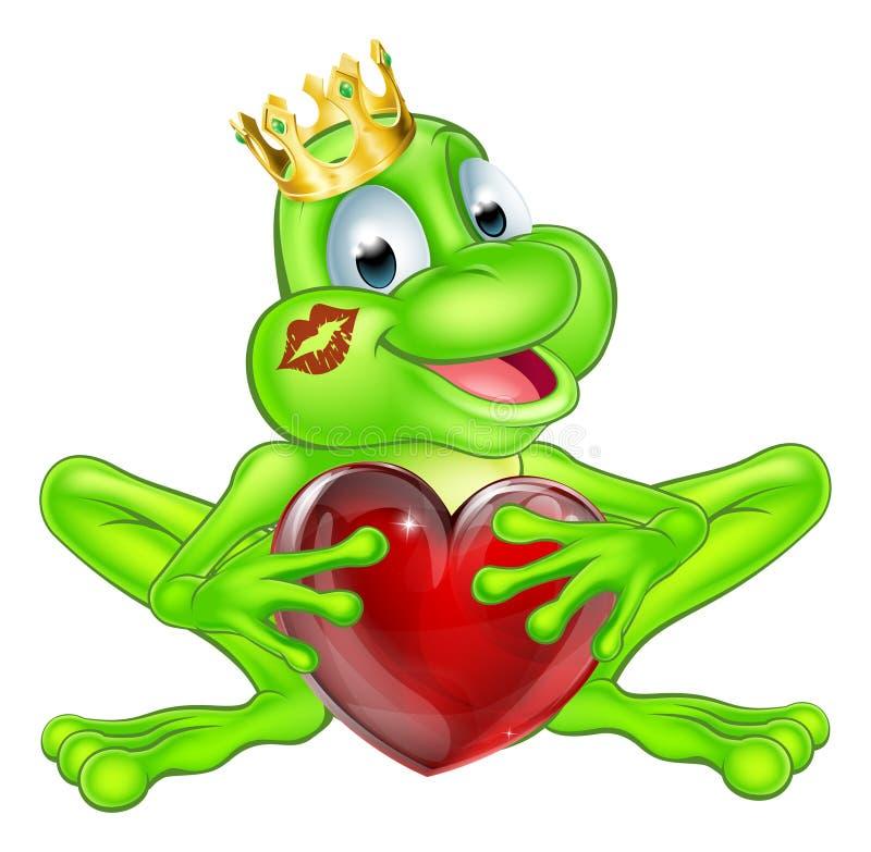 Froschprinz mit Krone und Herzen vektor abbildung